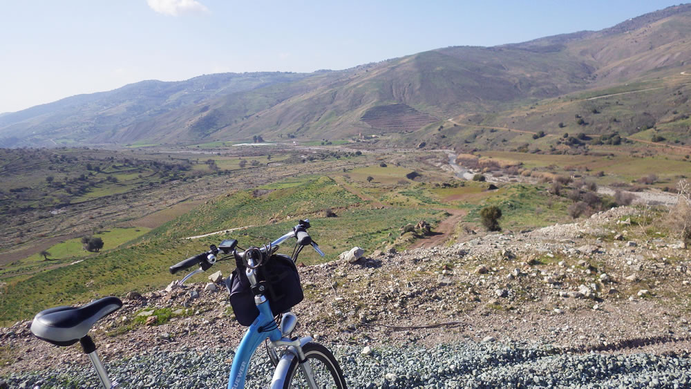 Cycling near Panagia tou Sinti church