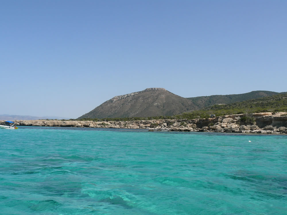 At Blue Lagoon cove in Akamas. Moutti tis Sotiras peak in the background
